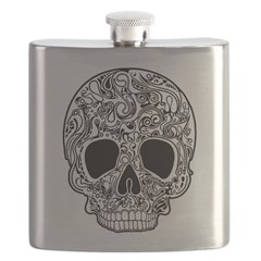 Psychedelic Skull White Flask