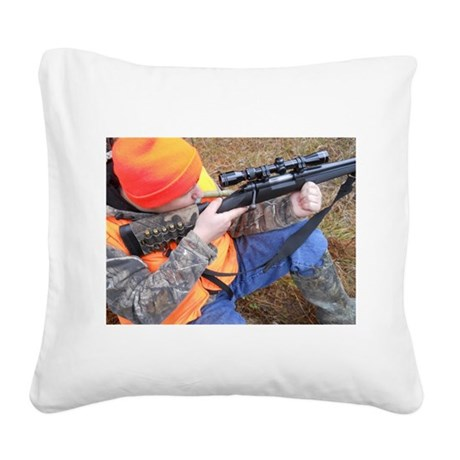Hunter Aiming Square Canvas Pillow