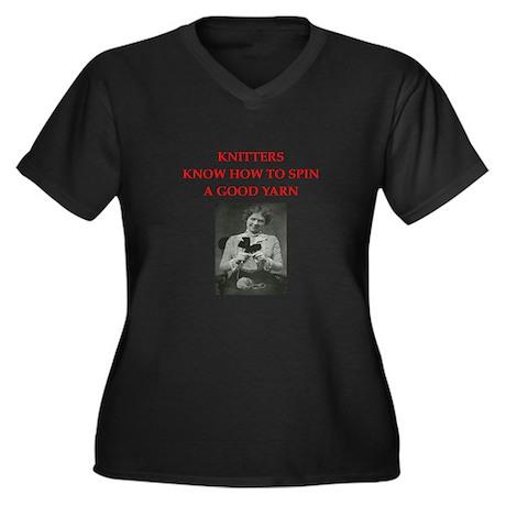 knitters Women's Plus Size V-Neck Dark T-Shirt