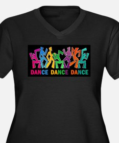 Dance Dance Dance Women's Plus Size V-Neck Dark T-