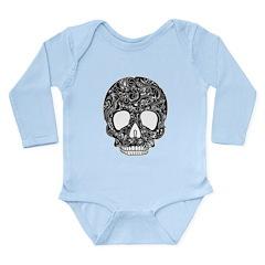 Psychedelic Skull Black Long Sleeve Infant Bodysui