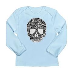 Psychedelic Skull Black Long Sleeve Infant T-Shirt