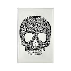 Psychedelic Skull Black Rectangle Magnet (10 pack)