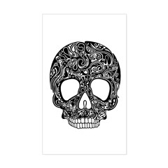 Psychedelic Skull Black Sticker (Rectangle)