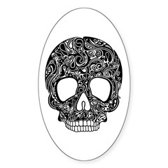 Psychedelic Skull Black Sticker (Oval)
