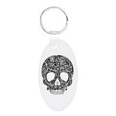 Psychedelic Skull Black Keychains