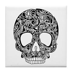 Psychedelic Skull Black Tile Coaster