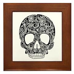 Psychedelic Skull Black Framed Tile