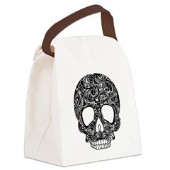 Psychedelic Skull Black Canvas Lunch Bag