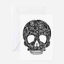 Psychedelic Skull Black Greeting Card