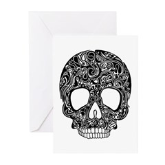Psychedelic Skull Black Greeting Cards (Pk of 20)