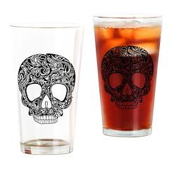 Psychedelic Skull Black Drinking Glass