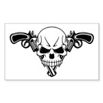 Skull and Guns Sticker (Rectangle 50 pk)