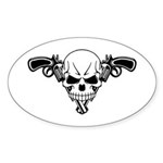 Skull and Guns Sticker (Oval 10 pk)