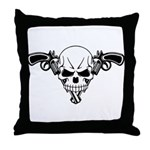 Skull and Guns Throw Pillow