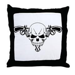 Skull and Guns Throw Pillow