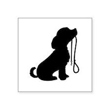 "Dog and Leash Square Sticker 3"" x 3"""