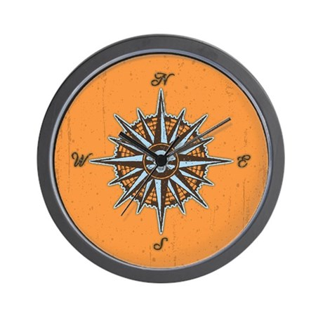Pirate Compass V Wall Clock