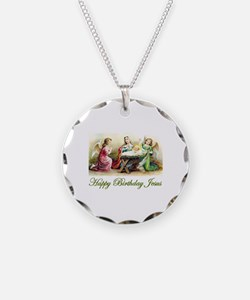 Happy Birthday Jesus Necklace Circle Charm