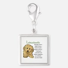 Labradoodle Puppy Silver Square Charm