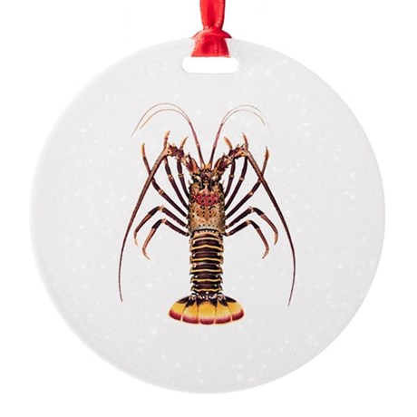 Spiny Lobster - Rock Lobster Logo Round Ornament