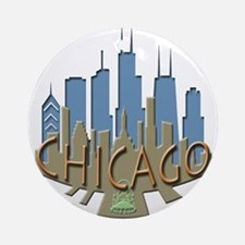 Chicago Skyline Newwave Beachy Ornament (Round)