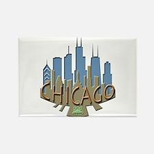 Chicago Skyline Newwave Beachy Rectangle Magnet