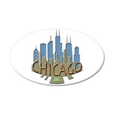 Chicago Skyline Newwave Beachy Wall Decal