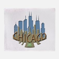 Chicago Skyline Newwave Beachy Throw Blanket