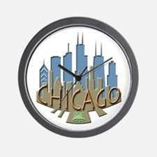 Chicago Skyline Newwave Beachy Wall Clock