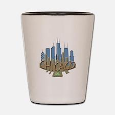 Chicago Skyline Newwave Beachy Shot Glass
