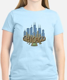Chicago Skyline Newwave Beachy T-Shirt