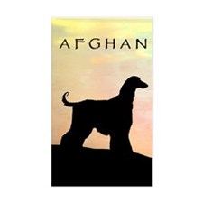 afghan hound orange sunset Rectangle Decal