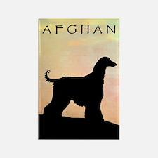 afghan hound orange sunset Rectangle Magnet