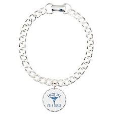 Trust Me I'm a Nurse (Blue) Charm Bracelet, One Ch