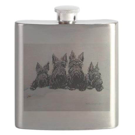 Snow Scottish Terriers Flask