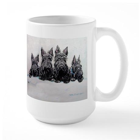 Snow Scottish Terriers Large Mug