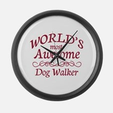 Awesome Dog Walker Large Wall Clock