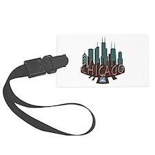 Chicago Skyline Newwave Chocolate Luggage Tag