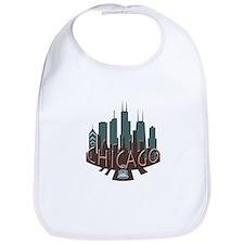 Chicago Skyline Newwave Chocolate Bib