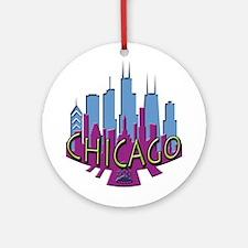 Chicago Skyline Newwave Cool Ornament (Round)