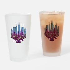 Chicago Skyline Newwave Cool Drinking Glass