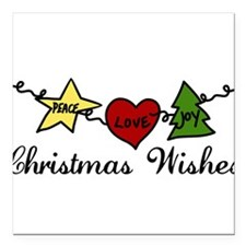 "Christmas Wishes Square Car Magnet 3"" x 3"""