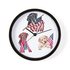 Patriotic Labradors Wall Clock