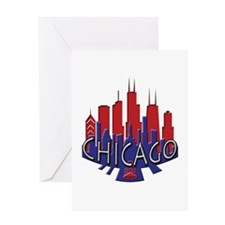 Chicago Skyline Newwave Patriot Greeting Card