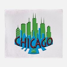 Chicago Skyline Newwave Primary Throw Blanket