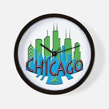 Chicago Skyline Newwave Primary Wall Clock