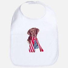 Patriotic Chocolate Labrador Puppy Bib