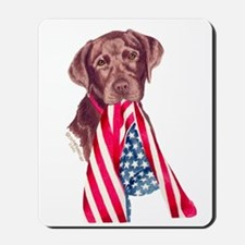 Patriotic Chocolate Labrador Mousepad