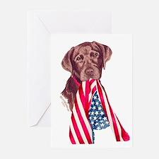 Patriotic Choc. Lab Greeting Cards (6)